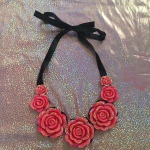 Jewelry - 4/$25 Pink Holographic Rose Necklace